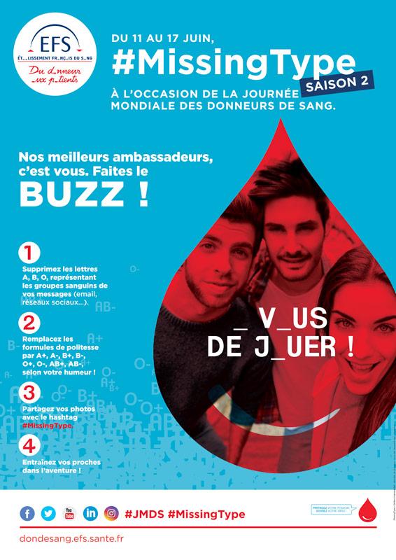 Affiche don du sang 2018 #missingtype saison 2 - Agence de communication AKINAI akinaï