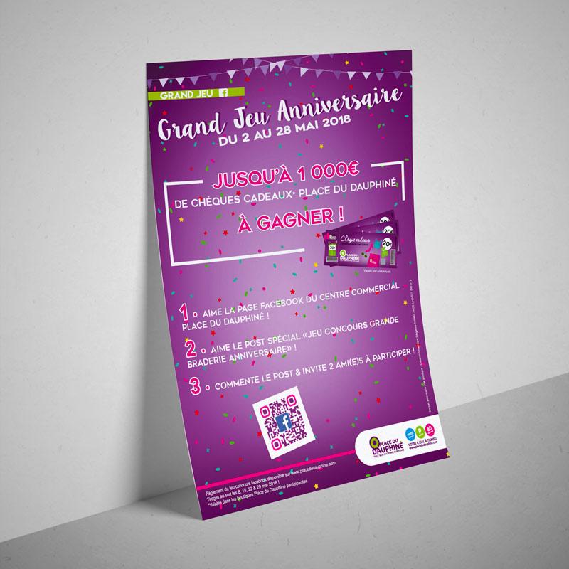 Flyer jeu concours Fb - Place du Dauphiné - Braderie Anniversaire 2018 - Agence de communication Akinai Akinaï
