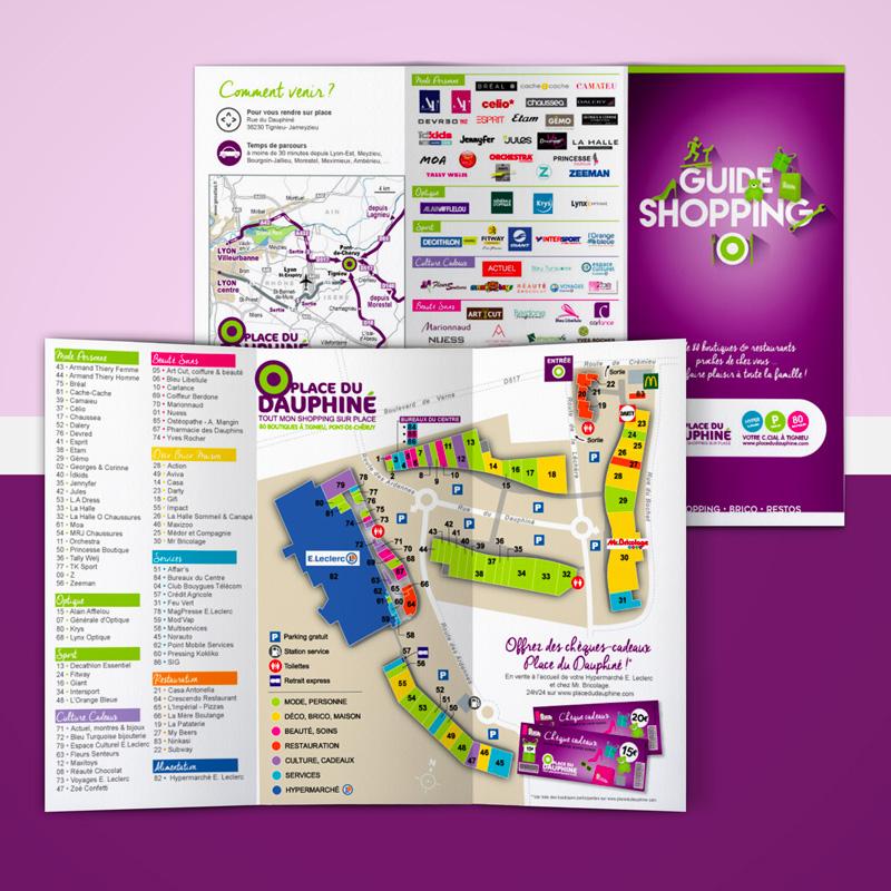 Guide shopping du C.Cial Place du Dauphiné - agence de communication AKINAI