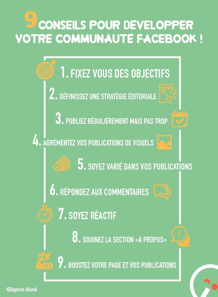 Infographie - 9 conseils pour développer votre communauté sur Facebook