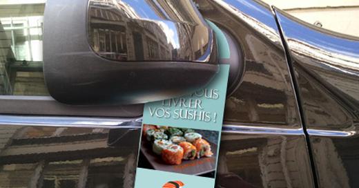 flyer accroche portiere retroviseur voiture agence communication akinai 2019