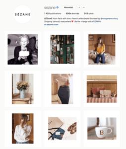 Sezane Feed Instagram Agence Akinai 2019